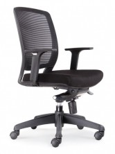 Hartley Task MB. Front Tilt Mech. Arms. 110Kg. Black Mesh Back. Black Fabric Seat Only