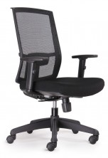KAL HB Task. Synchro Mech. Arms. 135Kg. Black Mesh Back. Black Fabric Seat Only
