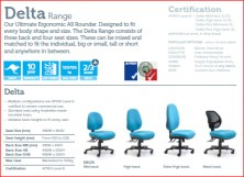 Delta Range Ergonomic Chairs. Various Back Heights, Seat Widths, Ergo Actions. Afrdi Tested 120Kg