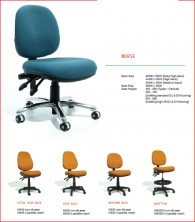 Norse Ergonomic Operator Chair. Various Back Heights, Seat Widths, Ergo Actions. Heavy Duty 135Kg