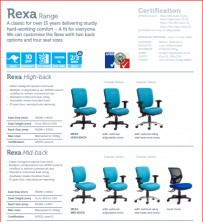 Rexa Range Ergonomic Chairs. Various Back Heights, Seat Widths, Ergo Actions. Any Colour. 120Kg