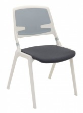 Maui Poly Prop Chair. White And Slate Grey Frame. Grey Fabric Seat