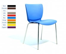Cello Visitor Chairs. Stackable. Chrome Frame. Plastic Shell. 10 Colours