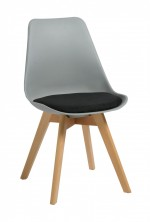 Virgo Timber Leg Breakout Chair. Grey Plastic Shell. Black Fabric Seat