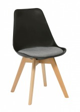 Virgo Timber Leg Breakout Chair. Black Plastic Shell. Grey Fabric Seat