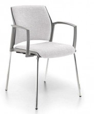 Rewind 4 Leg Chair. Loop Arms. Chrome Or Black Frame. Fabric Seat And Back Any Colour