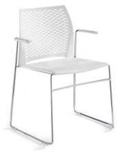 WEB Net Visitor Chair. Fixed Arms. Plastic Mesh Back. 8 Colours