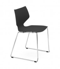 IFly Visitor Chair. White Or Black Poly Prop Shell With Chrome Sled Frame