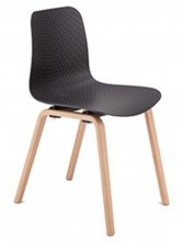 Weave Timber Leg Visitor Chair. Black Or White Poly Prop Shell