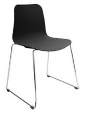 Weave Chrome Sled Visitor Chair. Black Or White Poly Prop Shell