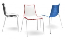 Zebra Bi Colour Chairs. White With Charcoal, Red, Blue, Orange, Green, Taupe