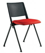 Revolution 4 Point Visitor Chair. Black PVC Back. Seat Pad Any Fabric Colour