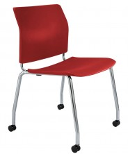 CS One Chair. Chrome 4 Legs With Fitted Castors. Black, White, Red, Blue