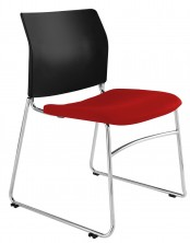 CS One Chair. Chrome Sled Base. Fabric Seat Pad. Any Fabric Colour