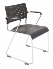 Wimbledon Sled Base Chair With Arms. Chrome Frame. Black Plastic Only
