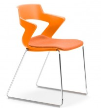 Zen Sled Chair. Chrome Frame. Fabric Seat Pad. Any Fabric Colour