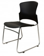 Zing Sled Base Chair. Chrome Frame. Black Seat And Back Only