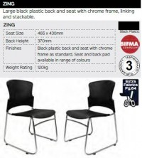 Zing Chair Range And Specifications