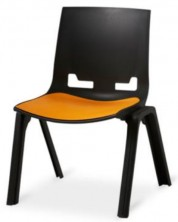 EU945 Euro 4 Leg Visitor Chair. Black. 120 Kg. Option To Add Seat Pad