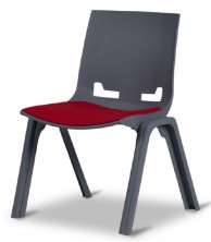 Euro 4 Leg Visitor Chair. Anthracite. Shows Fabric Seat Pad Option