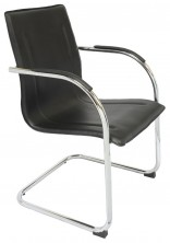 Comfo Chair. With Arms. Chrome Cantilever. Black PU Vinyl Only