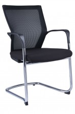 WMCC Chrome Cantilever. Arms. Black Mesh Back. Seat Black Fabric Only