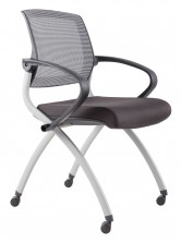 Zoom Visitor Chair. 4 Legs On Castors. Grey Frame. Black Mesh Back. Black Fabric Seat Only