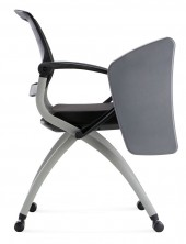 Zoom Chair With Castors And Tablet Arm. Black Mesh Back. Black Fabric Seat Only