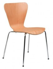 Epi 4 Point Butterfly Chair. Ply Shell. Chrome 4 Legs. Clear Natural Beech
