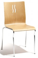 Epi 4 Point Wave Chair. Ply Shell. Chrome 4 Legs. Clear Natural Beech