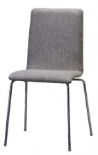 Carlos Chair. Fully Upholstered Shell. Chrome 4 Legs. Any Fabric Colour