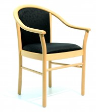 Manuela Sturdy Timber 4 Leg Arm Chair. Slightly Wider. Beech Natural. Any Fabric Colour