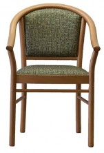 Manuela Three Quarter Back C536 Timber Leg Arm Chair. Beech. Any Fabric Colour
