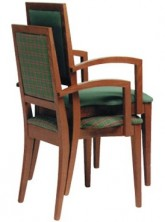Tania Arm Chair Stackable C242. Stained Timber. Any Fabric Colour
