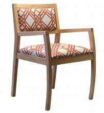 Gamma Small Back Arm Chair Upholstered C557. Stained Timber. Any Fabric Colour
