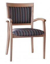 Marta Arm Chair Stackable C546. Clear Natural Finish. Any Fabric Colour
