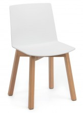 Jubel Timber Leg Visitor Chair. White PVC Shell