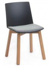 Jubel Timber Leg Visitor Chair. Black PVC Shell With Fabric Seat Pad. Any Fabric Colour