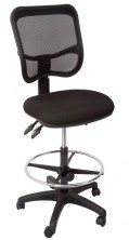 EM300 Drafting Chair. 3 Lever, Gas, Back Angle, Seat Tilt. Black Fabric