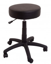 DS Desk Stool. 400 Dia Round. Gas Lift. Black PU Vinyl Only