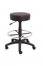 DS Counter Stool. 400 Dia Round. Gas Lift, Footring. Black PU Vinyl Only