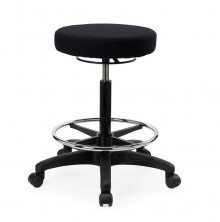 Alpha Tech Stool. 400 Dia Round. Gas Lift, Footring. Fabric Any Colour