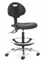 Lab 300 Tech Chair. Gas Lift. Back Angle. Chrome Footring. Chrome Base. Afrdi Tested