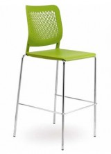 Malika Stool. Chrome Frame. Plastic Seat And Back. Green, Black, Blue, Grey, White, Brown, Red