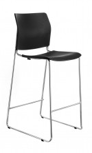 CS One Bar Stool. Black, White, Red Or Blue Plastic Shell. Chrome Frame