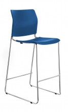 CS One Bar Stool. Blue, White, Red Or Black Plastic Shell. Chrome Frame