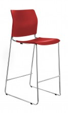 CS One Bar Stool. Red, Black, White Or Blue Plastic Shell. Chrome Frame