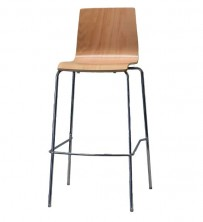 Carlos Bar Stool.C660R. Chrome Frame. Ply Shell Clear Finish. Stain Options Available