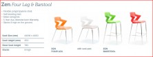 Zen Bar Stool. Chrome Frame. Orange, Red, Green, Black, White, Sand, Grey, Blue
