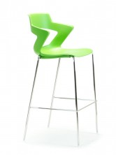 Zen Bar Stool. Chrome Frame. Choice Of 8 Colours. Green, Black, Grey, Blue